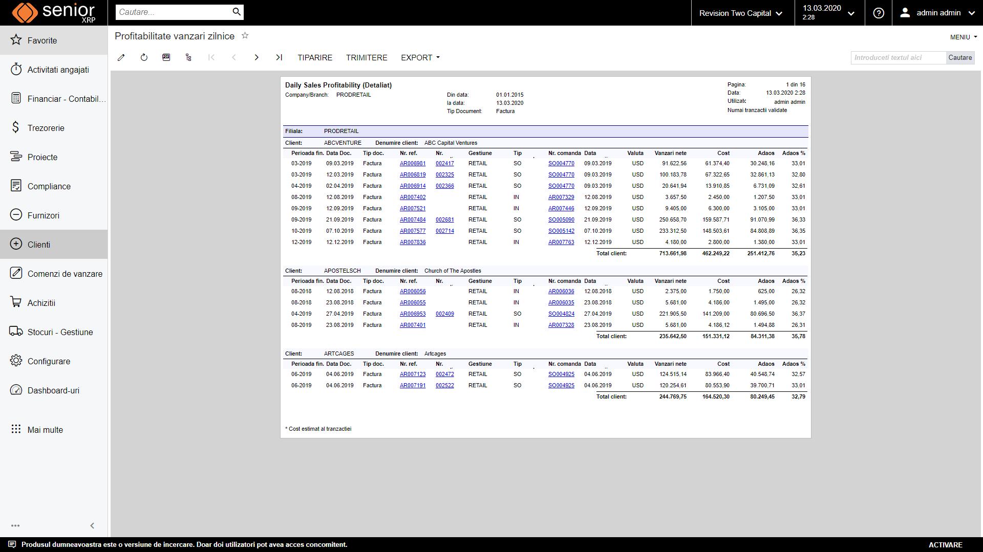 raport profitabilitate vanzari clienti